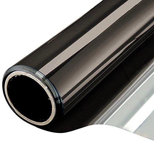 NewStar Sonnenschutzfolie | selbsthaftende Fensterfolie | UV-Schutz & Sichtschutzfolie, Kratzfest,Verdicken Materialstärke 0.1 mm (Schwarz Grau, 90 x 400 cm)