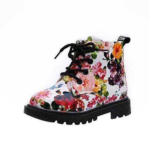 Herren 4-taste (Longra Baby Kinder Jungen Mädchen Blumen Schuhe Kinder Martin Stiefel Baby Schuhe Casual Kinder Schneestiefel Warme Winterschuhe (1-5Jahre) (28CM 4.5Jahre, White))