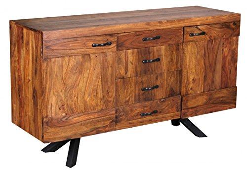 Wohnling WL1.366 Sheesham Massivholz Sideboard 145 x 45 x 82cm, Kommode, 2 Türen und 4 Schubladen - 2