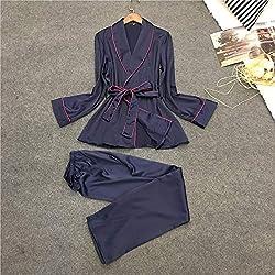 ABMBERTL Pyjama Ensemble de Pyjama en Satin pour Femmes Ensemble de Pyjamas élégants Printemps Automne Nightwear Dames Homewear Combinaisons de Nuit