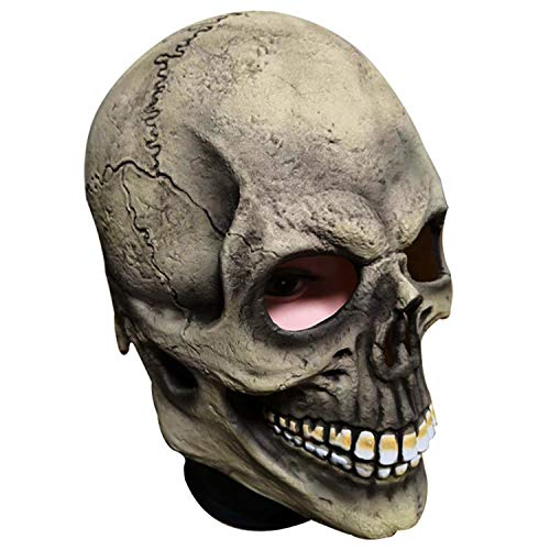 lloween Screaming Mask Kopfschmuck Erwachsene Schädel Horror Ghost Skeleton Latex Maske Cosplay Lustige Geschenke Dress Up Requisiten,Grey-OneSize ()