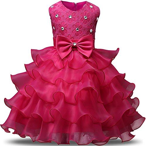 NNJXD Mädchen Kleid Kinder Rüschen Spitze Party Brautkleider Größe(100) 2-3 Jahre Rose
