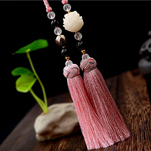 Comprajunta Lotus Anhänger aus Bodhi Baumfrucht, Zen Dekoration Für Haus und Auto, Geschenk Für Freunde 2 Farben,Pink