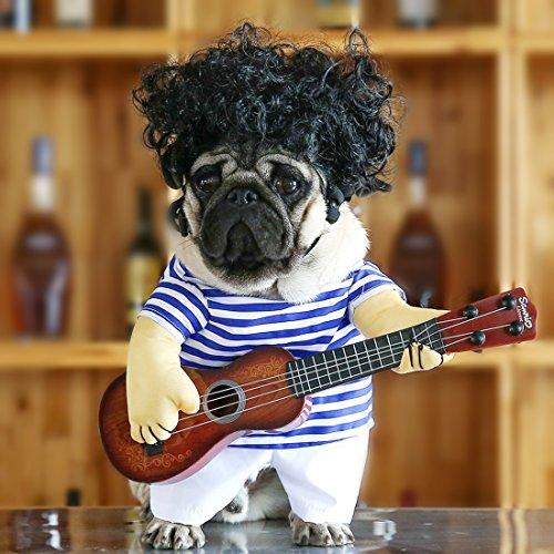 Idepet Lustige Gitarrenhund Kostüme Haustierbekleidung Hundekleidung Anzug für Welpen Kleine Mittlere Hunde Chihuahua Teddy Pug Weihnachten Party Halloween Kostüme Outfit (Kostüme Lustige Größentabelle)