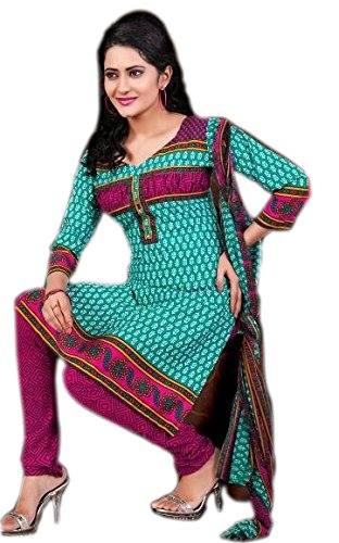 Araham Printed Blue Synthetic / Polyester Unstitched Dress Material/ Unstitched Salwar Suit