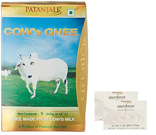 Patanjali Cow's Ghee, 1 L with Free Saundarya Cream Body Cleanser, 2 Pieces