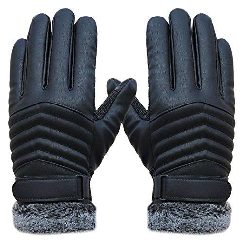 Koly Gants Homme, Anti Slip Hommes Gants En Cuir De L'éCran Tactile De Sports D'Hiver Thermiques