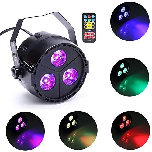 UKing Par Licht, 15 Watt 3 LEDs RGB Auto Voice DMX Steuerung Bühnenbeleuchtung für Disco Party Club KTV Hochzeit