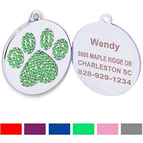 Hundemarke mit Gravur/Gratis Schlüsselringe/Personalisierte Strass ID-Tag/für kleine Mittel Große Hunde Katzen/Benutzerdefinierte Tags für Haustiere/GRÜN- Klein (Hund Id-tags Schalldämpfer)