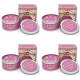 The Gift Box Le Candele in Confezione Regalo di Latta 4 Pack Pink Peony