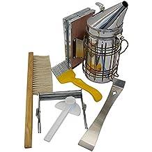 SODIAL Conjunto de herramientas de apicultura de 6 abejas fumador de colmenas, Cepillo de abejas