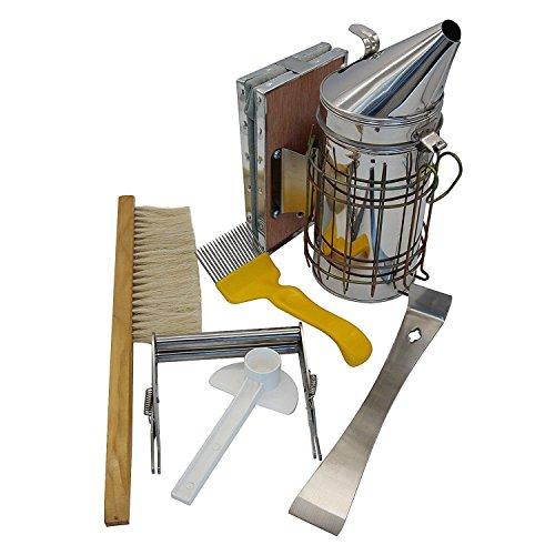 TOOGOO Imkerei Werkzeug Kit Set von 6 Bee Hive Raucher, Bee Brsuh Bienenzucht Zubehoer Bee Keeping Werkzeug