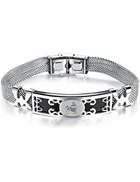 iLove EU Edelstahl Armband Armreif Manschette Silber Schwarz Schütze Horoskop Tierkreis Sternzeichen Mesh-Kette...