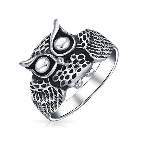 Bling Jewelry Joyería de Plata Esterlina Antiqued Bling Búho sabio pájaro Anillo Animal