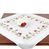 Stickpackung Rosen, Komplettes vorgezeichnetes Kreuzstich Tischdecken Set Zum Sticken, Stickset mit Stickvorlage