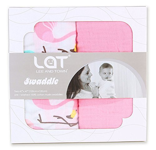 Preisvergleich Produktbild Baby Wickeldecke Kuscheldecke Set 2, groß Premium Musselin Pucken Baumwolle Tuch Playstation Swaddle Decke, Schlaf Sack, Babyschale, Stilltuch, Spucktuch.