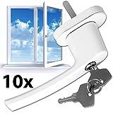 TecTake Fenstergriffe abschließbar Sicherheitsfenstergriff inklusive 2 Schlüssel pro Griff weiss -Menge wählbar- (10)