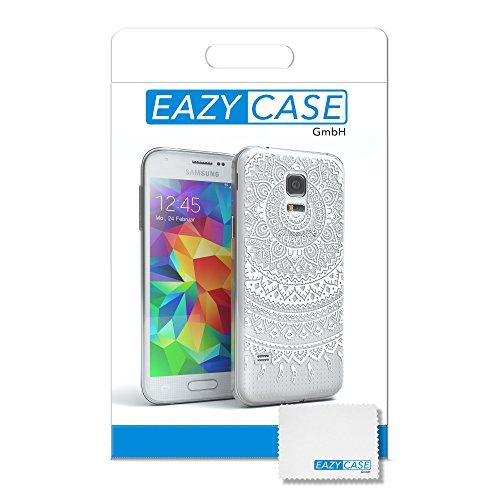 Samsung Galaxy S5 Mini Hülle - EAZY CASE Handyhülle - Ultra Slim Glitzer Schutzhülle aus Silikon in Gold Henna Weiß