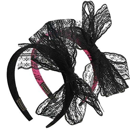 Yxaomite 2 Stück Party Spitzen Stirnband mit Bogen Geschmückten Damen Haarband für 80er Jahre Kostüme Zubehör, Schwarz und Pink