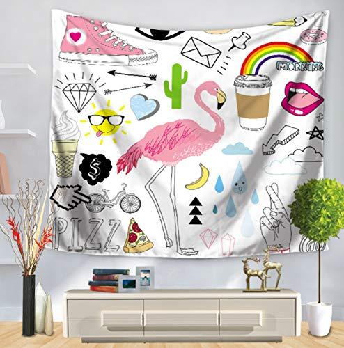 LJMGT Tapestry Wall Hanging,Cartoon Pink Canvas Schuhe Pink Flamingo Indischen Stil Gothic Mandala Print Stoff Größe Böhmischen Hippie-Tapisserie, Strandtuch Wohnzimmer Schlafsaal Yoga-Matte Wohnzimm -