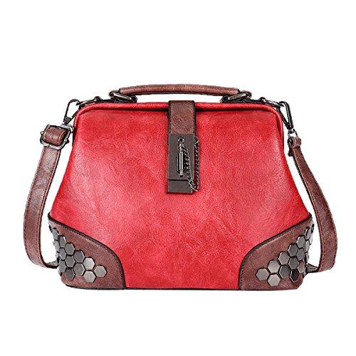 Lock-aktentasche Aus Leder (ADEMI Women's Lock Schultertasche Rivet Bag Handtasche Umhängetasche Ledertasche,Red-M)
