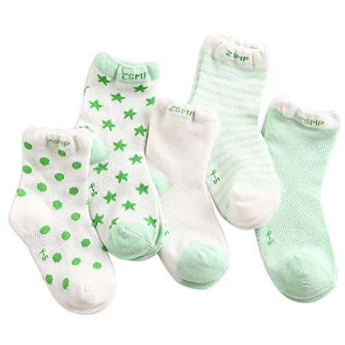 ARAUS Calzini Da Unisex Bambino Infantil Neonato Antiscivolo Invernali Di Cotone Caldi Paio Da 5 (0-6 Anni) Verde
