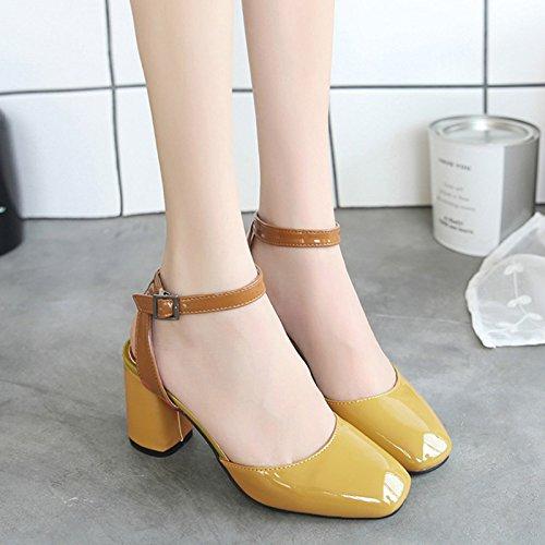 RUGAI-UE Donne fibbia sandali estivi scarpe retrò Yellow