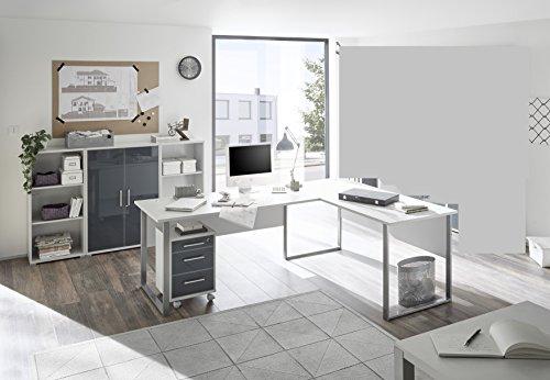 Komplettes Arbeitszimmer Büro Möbel Set Komplettset OFFICE LUX in lichtgrau Glas graphit Lack 5-teilig