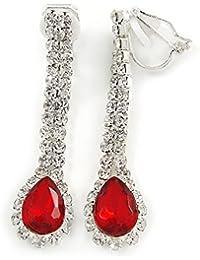 Rojo/Transparente de cristal en forma de lágrima Clip en los pendientes en tono plata–40mm L