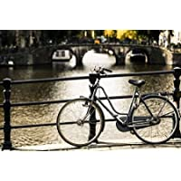 Feeling at home, Stampa artistica x cornice - quadro, fine art print, Amsterdam Grigio biciclette cm 84x124