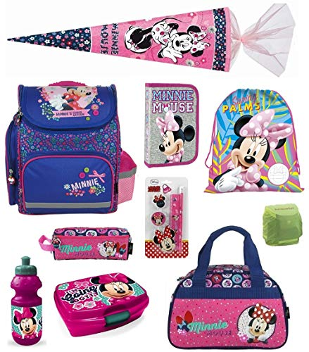 Familando Minnie Mouse Schulranzen-Set 13-TLG. Schultüte 85cm, Sporttasche, Federmappe und Regenschutz rosa blau pink Maus