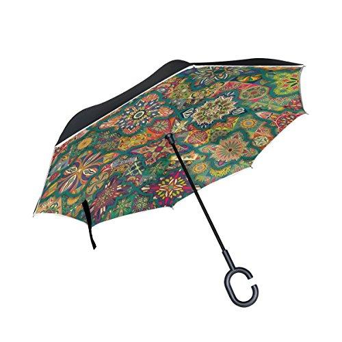 MNSRUU Paraguas invertido de Doble Capa con patrón Colorido con Mandalas, Mango en Forma de C, Paraguas Plegable Reversible, antirayos UV, Resistente al Viento, Paraguas de Viaje