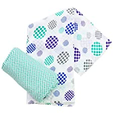 Plum Collections Muster Baumwoll-Musselin, Swaddle Packungen Spots Design (2 Stück, X-Large)
