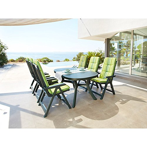 Best Gartenmöbelset Kansas, 9-tlg, 4 Klappsessel, Tisch 145x95 cm, Kunststoff, grün grün