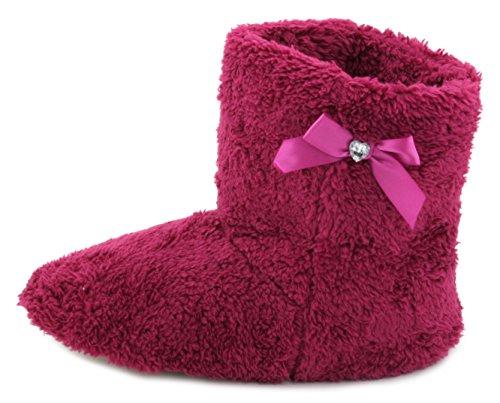 Pantofole donna corallo pile Bootie Pantofole Con Fiocco Magenta Pink