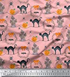 Soimoi Rosa Baumwoll-Voile Stoff cat & Spukhaus Halloween