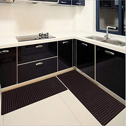 Sgsg ROM Alfombra Polipropileno Cocina, Moderna Impermeable Antideslizante Lavadora RayasSala Dormitorio Cuarto De Baño, Rojo Gris Oscuro Negro Azul,Darkgrey,19.7 * 47.2