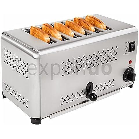 Royal Catering - RCET-6 - Tostador industrial para 6 Rebanadas -2.500 watt - Envío Gratuito