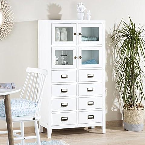 Zelan Vitrine Einzel - Holz - 75x35x140 cm - Farbe Weiß Winter