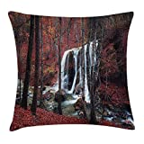 LuckMats Apartment Decor Throw Pillow Cushion Cover, Cascade Misty Fall Day Shedding Leaf at Mountains Rocky Creek Habitat Decor, Decorative Square Accent Pillow Case, Red Brown
