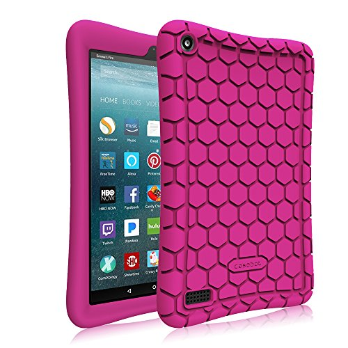 Fintie Silikon Hülle für Amazon Fire 7 Tablet (7-Zoll, 7. Generation, 2017) - Leichte Rutschfeste Stoßfeste Silikon Tasche Case Kinderfreundliche Schutzhülle, Violett