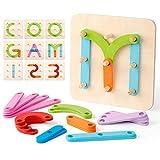 Coogam Numeri di Legno e Lettere Kit di attività di Costruzione Montessori Giocattolo Educativo Forma Colore Riconoscimento Ordinamento Tavola per i Bambini