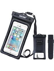 Coque étanche, Risepro® flottant Underwater Pouch Sac étanche avec brassard et jack audio pour iPhone 6, 6Plus, 6s, 6s Plus, 5, 5S, Samsung Galaxy S6HTC écran Touchable IPX830,5m Fb1710-bk