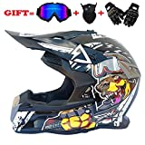 QJXF Adult Motorrad Motocross Helme-Full Face Helmet for Man and Woman-Goggles + Wind Mask + Cross Country Handschuhe (Dot Certified + 8 Style),6,XL