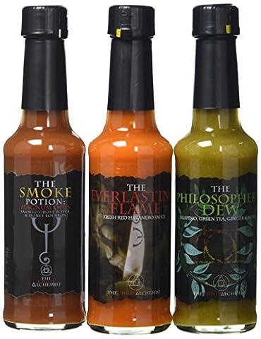 The Chilli Alchemist The Philosopher's Dew Magnum Opus The Everlasting Flame chilli sauce box set