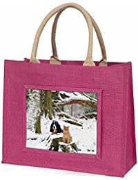Cocker Spaniel and Cat Snow Scene Large Pink Shopping Bag Christmas Present Idea