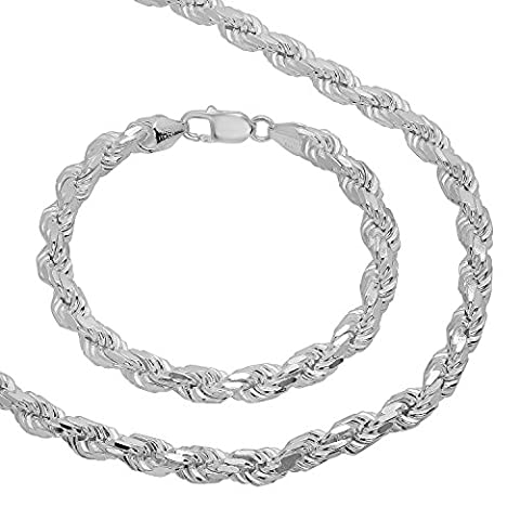 Men's 7mm Real 925 Sterling Silver Diamond-Cut Rope 76 cm Chain & 10