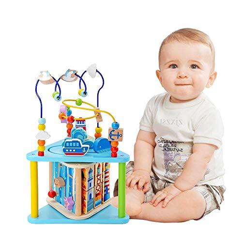 Baobë Juego de Juguetes de Laberinto de Madera, Juguetes de Cubo para niños, Laberinto Educativo para niños pequeños, Centro de Actividades 5-in-1 (Mundo Marino con Caja de música)