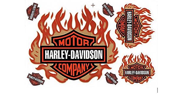 Aufkleber Set Harley Davidson Flammen Bronze Rot Ca 26x17cm Auto