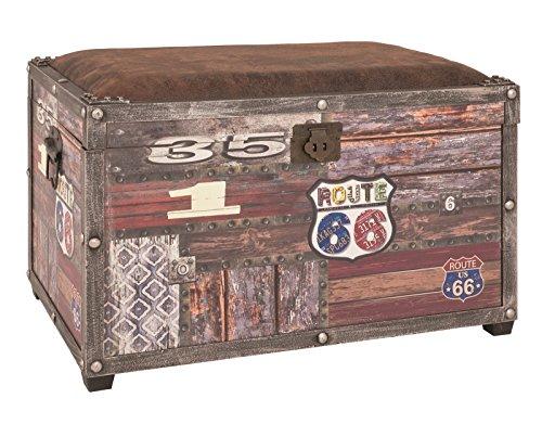 Sitztruhe bzw. Bank in Vintageoptik aus MDF und Kunstleder; Maße (B/T/H) in cm: 65 x 40 x 42